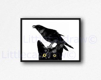 Cat Print Peeking Black Cat with Raven on its head Print Cat Bird Watercolor Painting Art Print Black Cat Wall Art Cat Lover Gifts Unframed