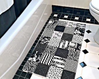 Black and White Bathroom Rug, Patchwork Bath Mat, Shower Mat, Laundry Room Rug, Nursery Rug, Dorm Room Rug, Kitchen Rug, Patchwork Rug
