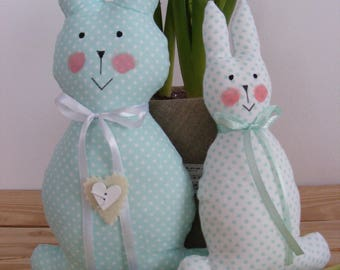 Easter bunny couple in a cottage-style decoration,gift,handmade,Easter,fabric,small,big,holiday,cute
