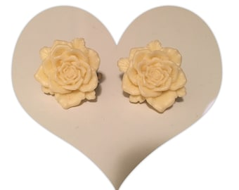 Yellow vintage rose clip on earrings