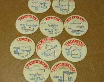 Vintage Milk Bottle Caps 51 pieces with images of United States states