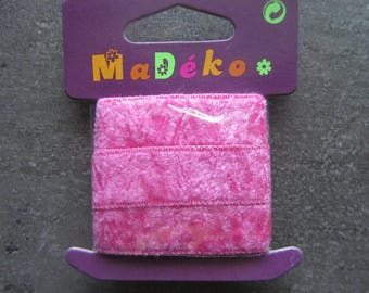 Shaved velvet - dusty Pink Ribbon - 1 m x 1.5 cm