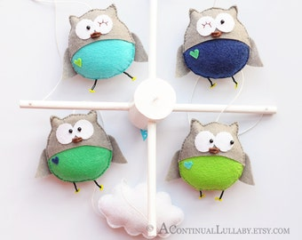 Owl Baby Mobile, Baby Boy Mobile, Owl and Cloud, Blue Green Navy Gray