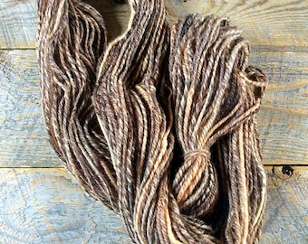 Handspun yarn - worsted weight brown handspun wool yarn