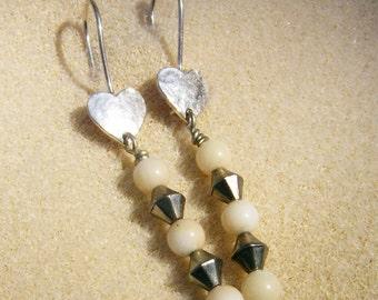 Handmade Dangle Earrings - Wonderful White Coral Beads with Silver Heart Ear Wires - Handmade by JewelryArtistry - E642