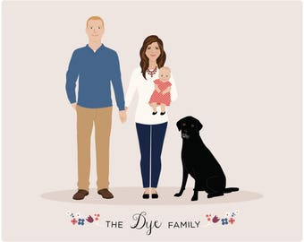 Portrait family illustration custom