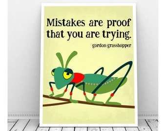 Grasshopper Art, Grasshopper Drawing, Insect Art, Mistakes Are Proof Poster, Classroom Art, Art for Kids, Science Art, Classroom Poster