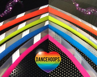 """White Reflective Hula Hoop with Grip HDPE or Polypro 5/8"""" 3/4"""" Dance & Exercise - Not an LED hoop"""
