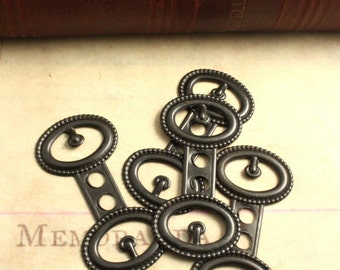 4 Deco Buckle Embellishments - Vintaj Arte Metal OS