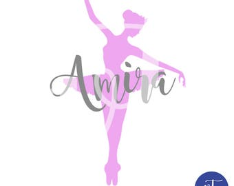Personalized Ballet Dancer with Vinyl Name, Dancer, Vinyl Decal