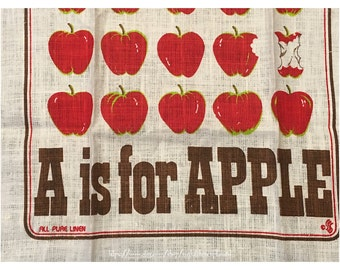 Tea towel; A is for Apple; made by Stevens; linen towel; kitchen towel; T119