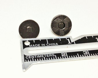 10mm 2 mm Magnetic Snaps 20 sets Gunmetal Extra Thin