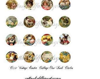 Vintage Easter Collage 1 inch circles C-157 for Bottlecaps, Glass Tiles, Cabachons, Scrapbooking, Badge Holders, Hair clips