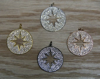 CZ Micro Pave 25mm  Disc with Hollow Star Pendant