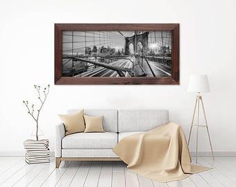 Brooklyn Bridge, New York, Triptyc, Panoramic, Black and White, Manhattan, NYC, Wide angle, Decoration, Fine Art Photography, Landmark