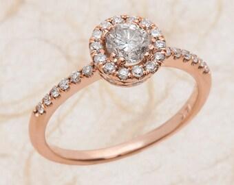Diamond Engagement Ring Rose Gold, Diamond Halo Engagement Ring Rose Gold, Rose Gold Engagement Ring Diamond Halo, Diamond Rose Gold Ring