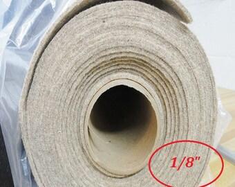 """Wool Felt By The Yard, Eco Felt Slipper Insole,  Boot Insole, 100% Eco Wool Insoles, Shoe or Slipper Supplies, 1/8"""" - 20"""" x 60"""""""