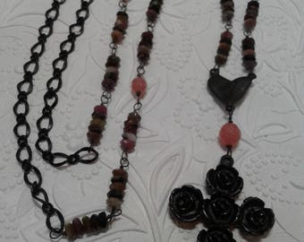Tourmaline, pink and black cross necklace