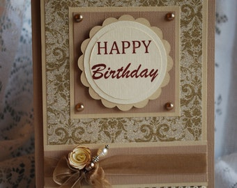 Elegant handcrafted card for birthday or anniversary