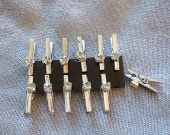 x 5 mini clothespins with Rhinestones for your creations