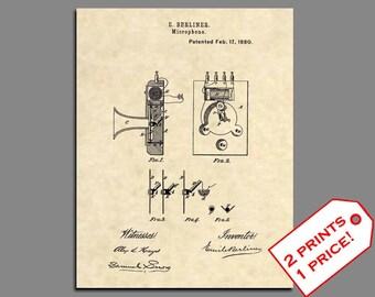 Music Print Art - Vintage Berliner Microphone Art Patent Prints - Music Artwork Patent Poster - Microphone Print Wall Art - Patent Art 410