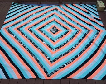 80s pieced patchwork bedspread quilt mod neon patchwork doubleknit bedspread optical