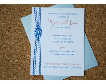 Nautical Tying Knot Shower Invitation