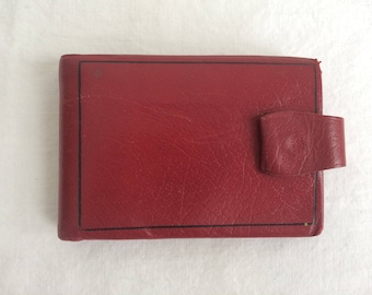 1940s 1950s Red Leather Billfold Wallet Art Deco Design 2 Section Coin Purse ID Holder