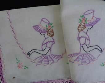Vintage doilies - hand embroidered doilies - set of two - ladies with baskets doilies embrodered set /dresser doilies