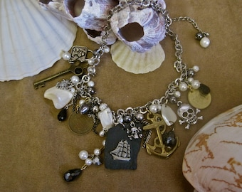 Midnight Voyage: Pirate Necklace Mermaid Choker Pearls Silver Gold Mother of Pearl Black Vintage Assemblage Beach Wedding
