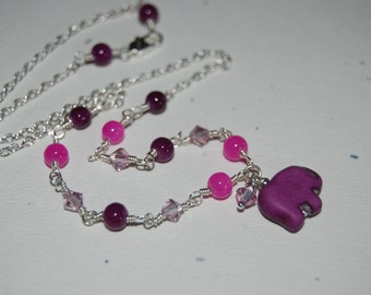 Artistic Wire Wrap Style Purple Lucky Elephant Swarovski Crystal Little Girl Necklace