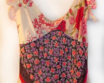 Adorable Floral Patchwork Top