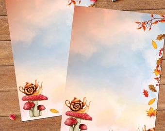 Autumn snail - DOWNLOAD file - Printable Writing paper - A5 size