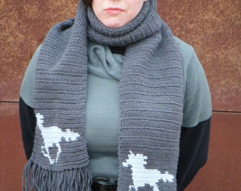 Grey Running Horse Scarf for Women - Grey, Gray Scarf - Horse Scarf - Crochet, Crocheted - Hoooked Scarves MADE TO ORDER