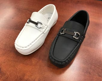 Toddler to Youth Boys Classic Black White Vegan Faux Leather Loafer Shoes, Wedding Ring Bearer, Confirmation, Christianing, Baptism
