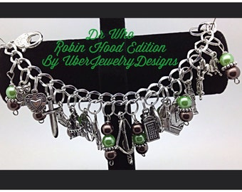 Doctor Who Charm Bracelet Inspired Robin Hood Edition Fandom Jewelry by Uberjewelrydesigns