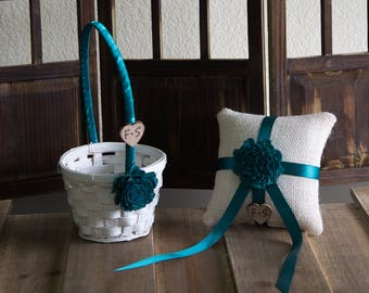 Personalized Small Flower Girl Basket and Ring Bearer Pillow SET