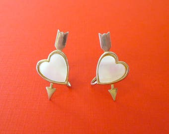 Heart and Arrow Earrings - Mother of Pearl - Vintage Screw Back - Valentine's Day