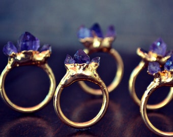 AMETHYST MOUNTAIN RING /// Gold or Silver