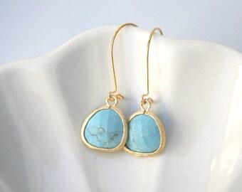Turquoise Earrings in Gold. Turquoise Earrings. Teal Earrings. Blue Earrings. Wedding Jewelry.Bridal. Dainty. Delicate. Turquoise Blue.Gift