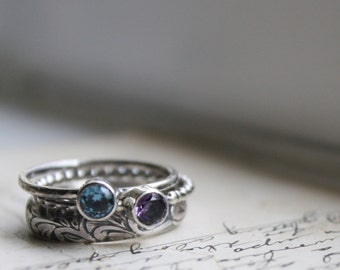 Mothers Rings, Stacking Rings, Set of three