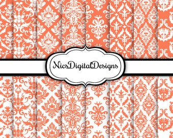 16 Digital Papers. Damask in Coral and White (6 no 34) for Personal Use and Small Commercial Use scrapbooking