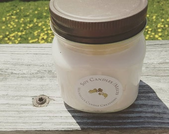 8 Ounce Wild Strawberry Scented Soy Candle-Hand Poured -Mason Jar Candle - Gift