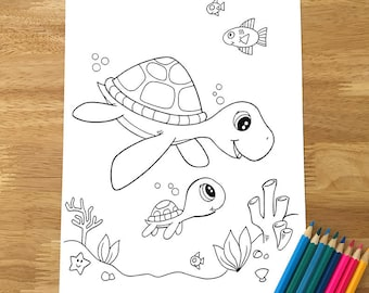 Cute Sea Turtles Coloring Page! Downloadable PDF file!