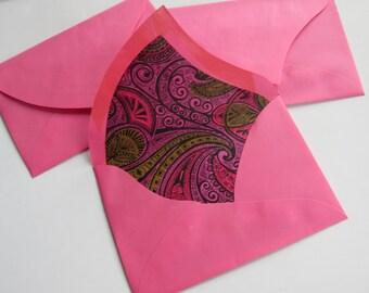 Unique Trio Envelopes Vintage Hot Pink Semi Psychedelic Lining