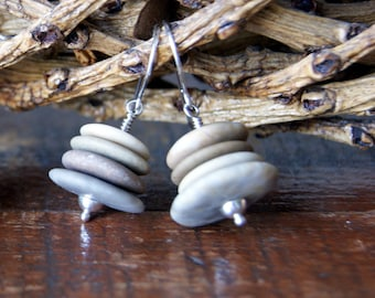 Beach Pebble Cairn Earrings with Sterling Silver Earwires