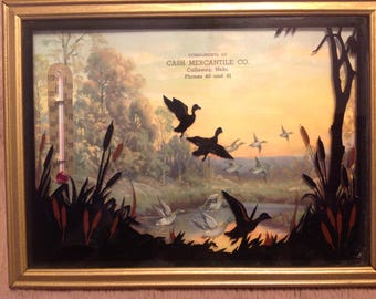 Antique Silhouette Thermometer with duck scene