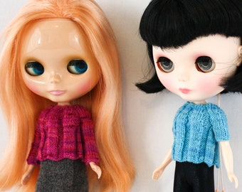 Blythe doll Quercus Sweater knitting PATTERN - short or long sleeve ribbed for Neo - instant download - permission to sell finished items