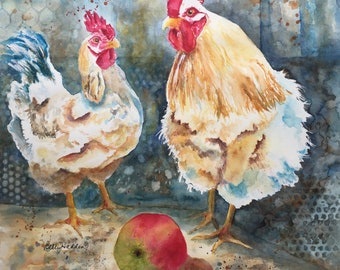 Rooster and Chicken, Adam and Eve, Original watercolor painting