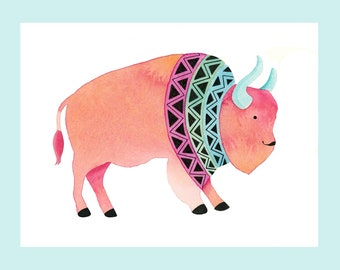 Pink Bison Wall Art Print Watercolor Painting